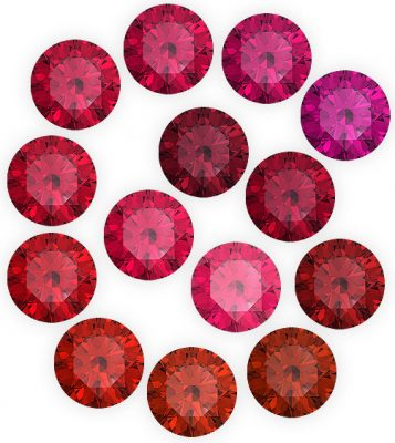 Đá Ruby có các sắc độ màu khác nhau tùy thuộc vào hàm lượng Crom trong tinh thể