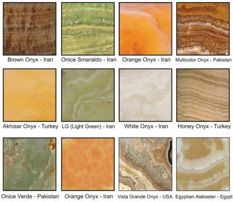 Đá Onyx có rất nhiều màu sắc