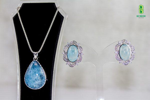 bộ trang sức bạc aquamarine