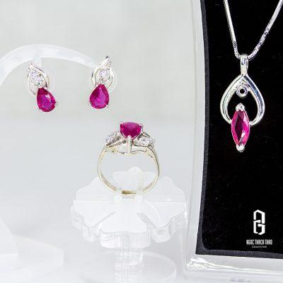 bộ trang sức bạc đính ruby