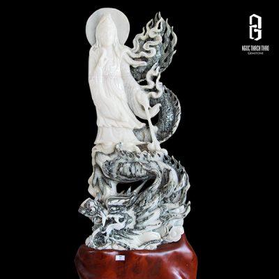 tượng quan âm cưỡi rồng bằng đá tuyết sơn