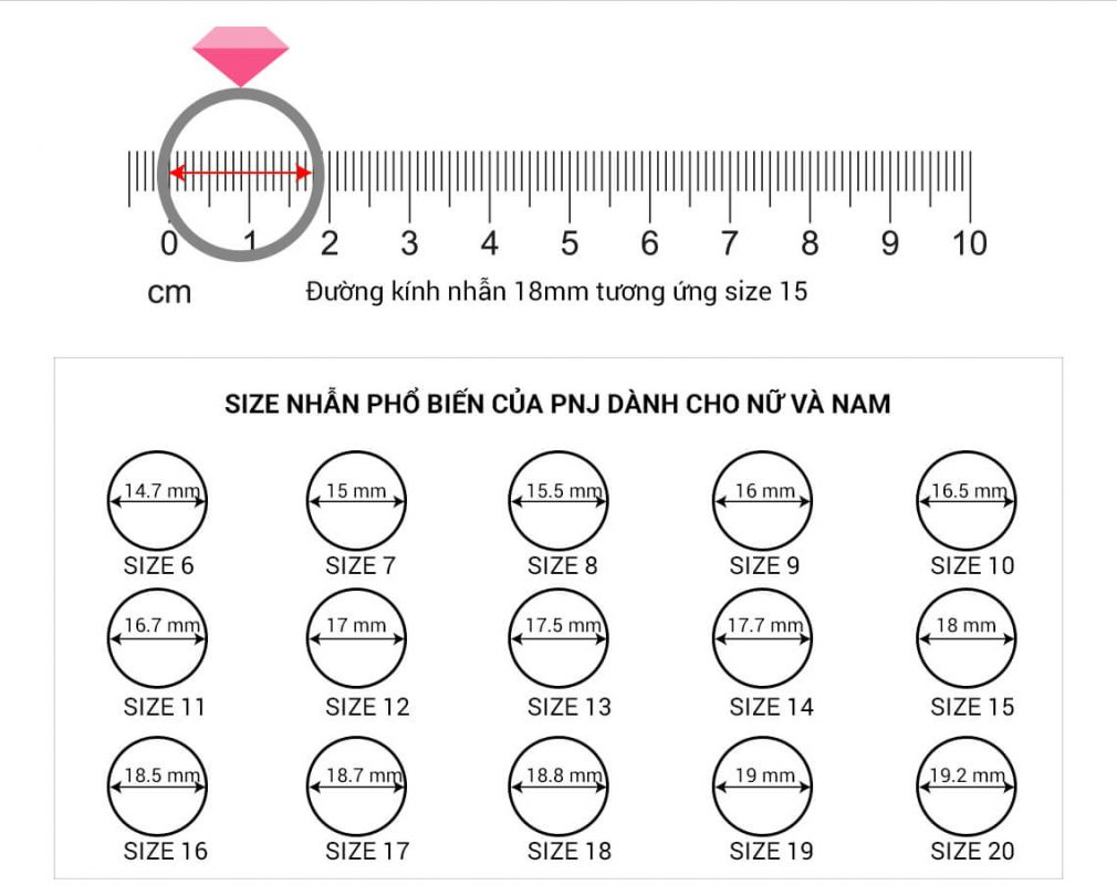 Cách đo size nhẫn - Bảng đo size nhẫn chuẩn PNJ