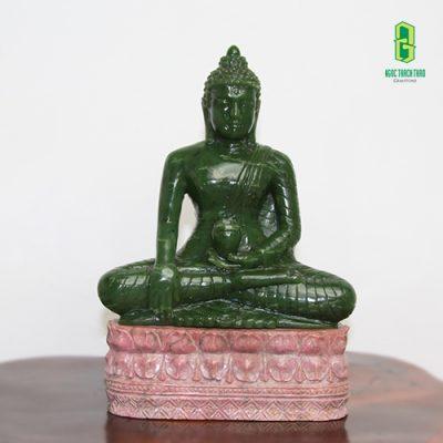 Tượng Phật Thích ca ngồi đá Thạch anh xanh