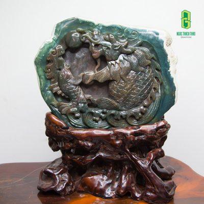 Tượng Cá chép hóa Rồng đá Canxedon