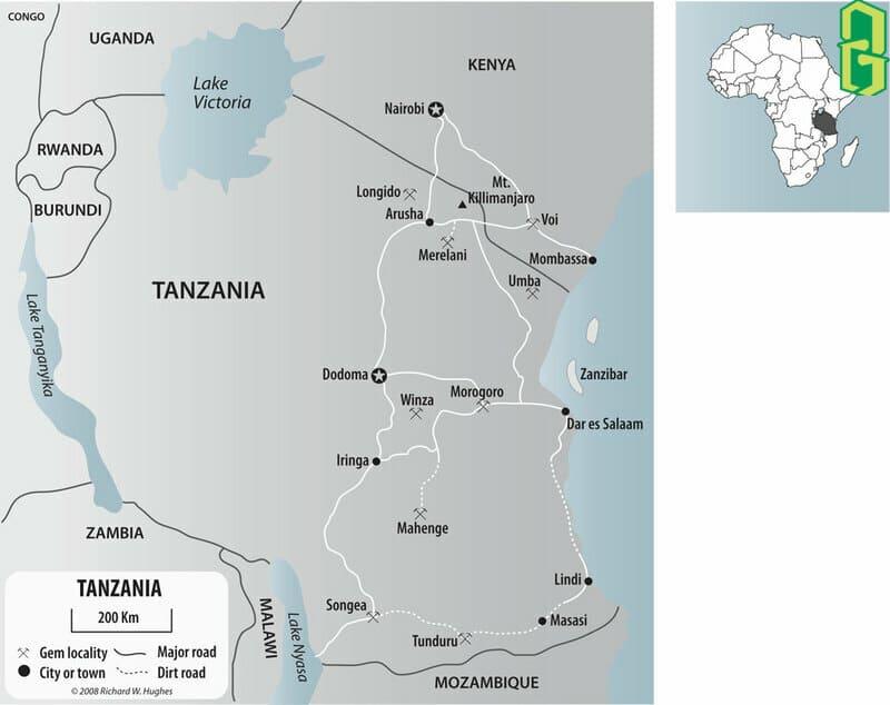 Đá tanzanite được tìm thấy ở một nơi duy nhất đó là Merelani, một khu vực phía bắc Tanzania.