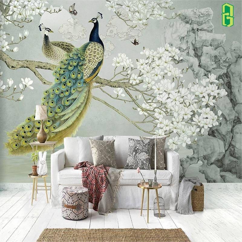 Tranh Chim Công Và Hoa Mộc Lan